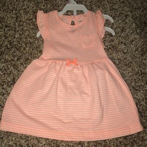 Peach/white stripped toddler dress with bloomers